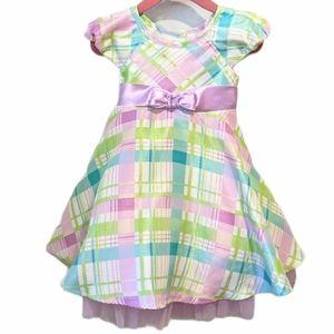 Jona Michelle girls pastel plaid dress sz 2